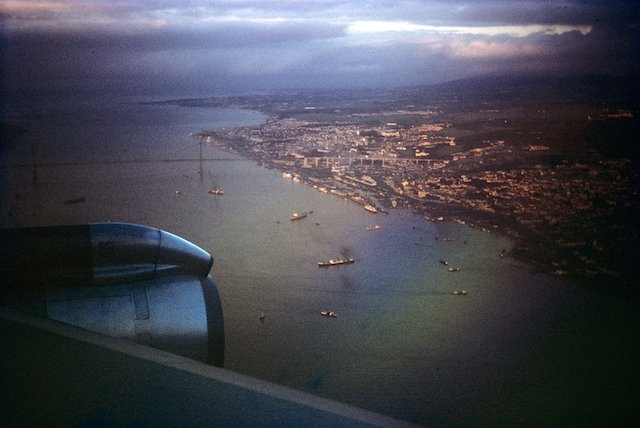 The 25 de Abril bridge in Lisbon, Portugal. At the time it may have been called Salazar's Bridge.